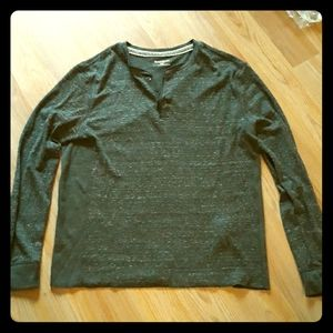 Express men's brown waffle  Henley top size large